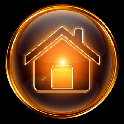 House icon gold, isolated on black background